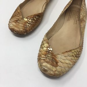 Pedro Garcia Gold Nude Python Snakeskin Flats 38